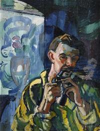 självporträtt med pipa by axel torneman