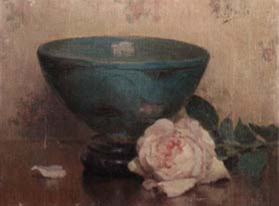 still life of pink rose and bowl by marthe kratke