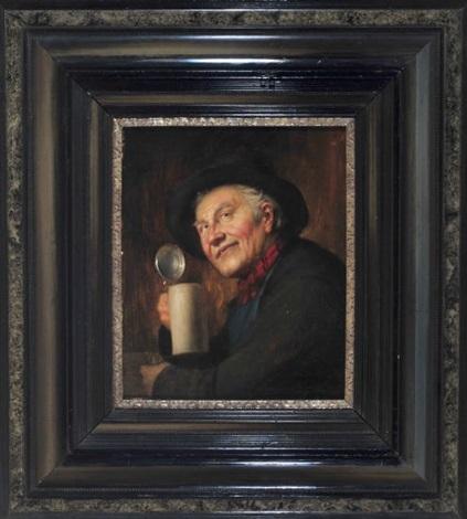 portrait eines bauern mit bierkrug by josef wagner-hohenberg