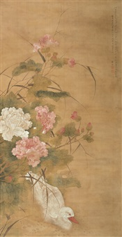 芙蓉水禽 (peony and water bird) by qian lin