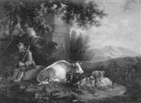 romantische berglandschaft mit einem hirten bei ruhendem vieh vor einem brunnenmonument by f. t. renard