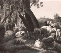 arcadian scene; shepherd and shepherdess with sheep by ach. c. pacini