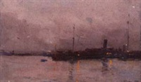american wwi ship in harbor by alfred-georges hoen