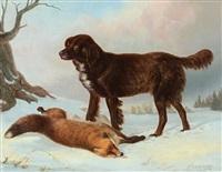 jagdhund mit einem erlegten fuchs in einer winterlichen landschaft by hermann fleischhauer