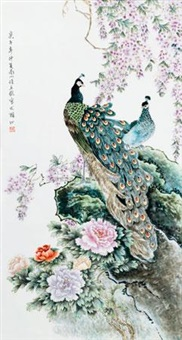 粉彩《花鸟争艳》瓷板 (porcelain plaque) by xu yafeng