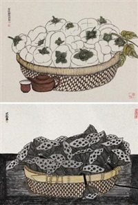 茶后静思 (persimmon and lotus seed) (2 works) by ba qiu