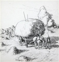 hay harvest by ernest h. shepard