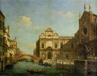 kanalmotiv med gondoljärer vid kyrkan san giovanni e paolo - venedig by william henry haines