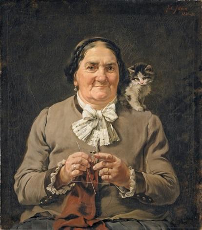 die mutter des künstlers mit kätzchen auf der schulter by julius adam the younger
