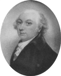 portrait of a gentleman, in black coat and white stock, his hair powdered by john simpson