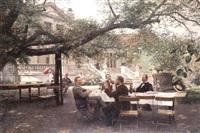 herrengesellschaft im park des alten düsseldorfer malkastens by eduard daelen