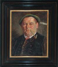 portrait eines pfeife rauchenden mannes in innsbrucker tracht by august frech