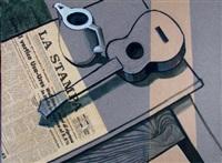 stilleben mit kanne und guitarre (+ stilleben mit fernseher, trompete und spielkarten; 2 works) by michael vogt