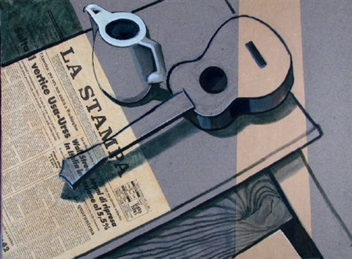 stilleben mit kanne und guitarre stilleben mit fernseher trompete und spielkarten 2 works by michael vogt