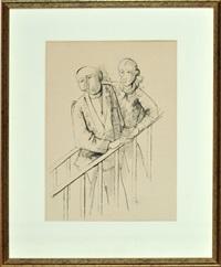 zwei männer am treppengeländer by karl hofer