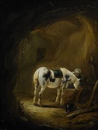 man med turban vid en vit häst by pieter cornelius verbeeck