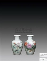 "粉彩""牡子莲心""图瓶 (porcelain vase) by zhang songmao and xu yafeng"