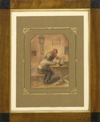in der stube - verwunderte bäuerin mit leerer weinflasche und eingeschlafener bauer am tisch by eduard ritter