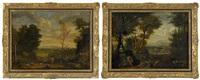 landskap med figurer (2 works) by johannes (jan) glauber