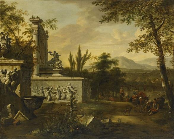 italienskt ruinlandskap med figurer by william gowe ferguson