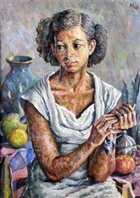portrait of a young woman with fruit and pots by albert huie