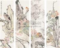 花鸟 (in 4 parts) by ren jin