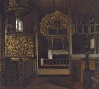 interior fra en norsk trækirke. hedalen by valdemar kornerup