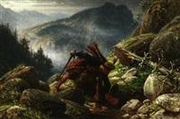 im schottischen hochgebirge. zwei clanmitglieder im erbitterten gefecht by adolf northen