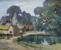 farm buildings by a pool by leonard richmond