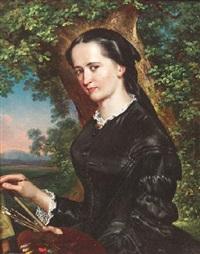 porträt einer malerin mit pinsel und palette vor der leinwand by ludwig (georg l.) vogel