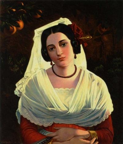 italienerinde i rod kjole og med hvid hovedbeklædning by christian adam