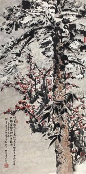 三友图 (three durable plants of winter) by ren zhenhan