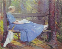 a woman reading in the woods by marion p. howard