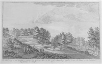 de butterberg te zien tusschen de statue, den yzeren man en het amphitheater te kleef by hendricus spilman