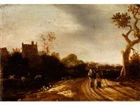 landschaft mit zwei wanderern by jan meerhout