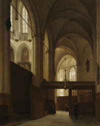 kircheninterieur (niuewe kerk, amsterdam?) by jan jacob schenkel