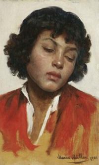 porträt eines verträumten knaben by marie müller