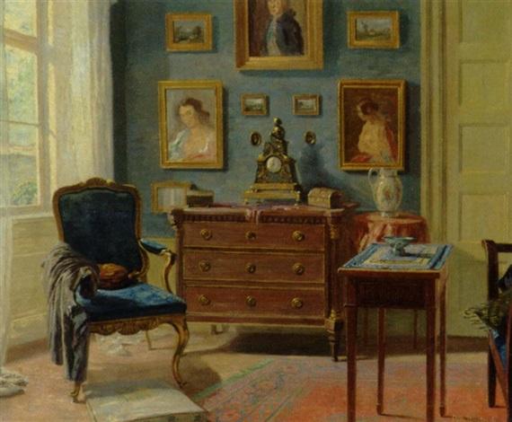 Louis Xvi Stoel : Blåmalet stue med rokokostol louis xvi kommode og malerier på