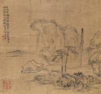 溪馆读书图 立轴 绢本 by huang shen