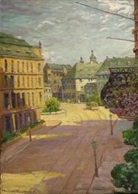 mainz, blick auf den schillerplatz in der mittagssonne by carl müller-trenkhoff
