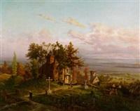 romanische kapelle und friedhof auf einer anhöhe by alfred von ernst