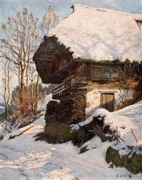 schwarzwaldhaus im schnee by curt liebich