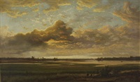 sunset river landscape with impending clouds by alexander ferdinand wust