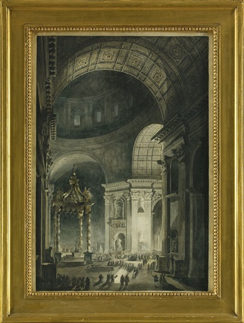 illumination de la croix de saint pierre à rome engraved by francesco piranesi by louis jean desprez