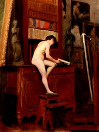 nude model in artist's studio by henry léon jacquet