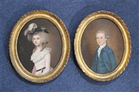 portrait of mr. simpson of bath (+ portrait of mrs. graham (nee harriet simpson) of barrock; pair) by lewis (of bath) vaslet