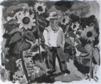 der g,rtner im sonnenblumenbeet by georg hans (müller-rehm) müller