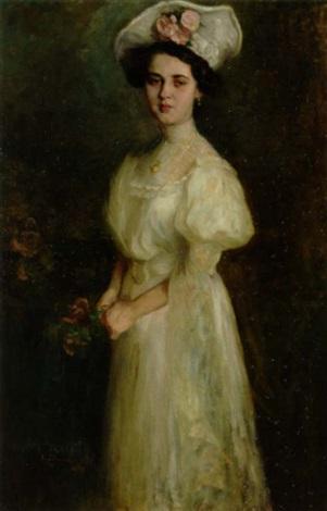 ec19bd22167c ung dame i hvid selskabskjole med guldsmykke om halsen og roser i den hvide  hat by