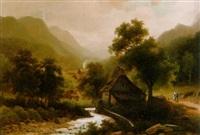 wassermühle in bewaldeter berglandschaft by arnold forstmann