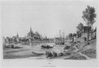 cöln. rheinuferansicht mit schiffbrücke, vom rechten rheinufer aus by jakob ludwig buhl